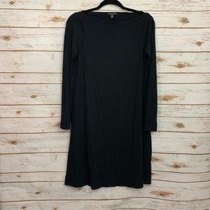 Eileen Fisher Black Boatneck Long Sleeve Dress